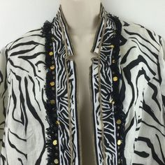 Chicos 3 Jacket Black Cream Zebra Animal Print Linen Open Blazer Top 16/18 L/XL #Chicos #Blazer