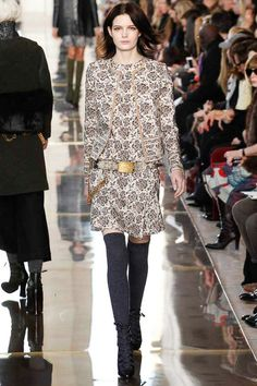 An interview or office look from Tory for my closet. Gold accents and grey thigh highs with a soft print gets a touch of aggression from the open laced black heel.  Tory Burch   Fall 2014 Ready-to-Wear Collection   Style.com