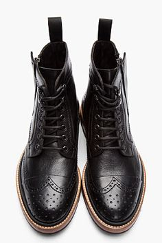 LANVIN Black Leather Brogue Boots. So Awesome!!!!!