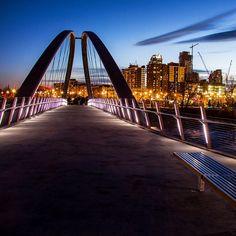 """Another dusk shot of Calgary's new St. Patrick's Bridge. #capturecalgary #calgary #alberta #explorealberta #bridge #span #yycbike #yycwalk #canon #dusk #eastvillageyyc""  Instagram photo by klaszus"