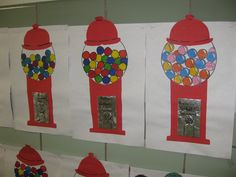 gumball machines- gr. 3, collage and marker