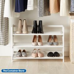 Keep your favorite shoes organized and accessible with this fashionable wooden rack. Three shelves give you generous storage space, and its sturdy design lets you stack an additional rack on top. Convenient and simple to set up, it folds flat for easy storage. Closet Storage, Storage Bins, Bedroom Storage, Storage Spaces, Closet Organization, Easy Storage, White Shoe Rack, 3 Tier Shoe Rack, Shoe Rack Rolling