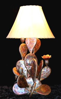 Copper Cactus Lamp - Southwestern  - Home Decor - Rustic - Farmhouse - Country Western - Lighting - Cactus Flower