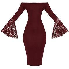 Tayler Burgundy Bardot Lace Flared Sleeve Midi Dress ($28) ❤ liked on Polyvore featuring dresses, calf length dresses, lace midi dress, mid calf dresses, red lace dresses and red bell sleeve dress