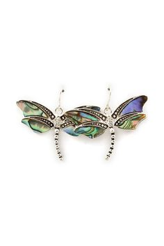 Mother of Pearl Inlayed Butterfly Earrings on Emma Stine Limited