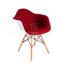 Eames Style Molded Shell DAW Eiffel Dowel Leg Upholstered Dining Arm Chair  #FSW #MidCenturyModern