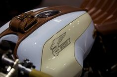 Ducati Cafe Racer (cool color + leather) Great colors. Leather, creme, white, gold, maybe some red somewhere.