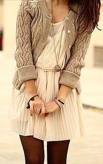 cardigan over pleated dress by Creative Fashion, via Flickr - Love the sweater... would be awesome if I could find a similar pattern