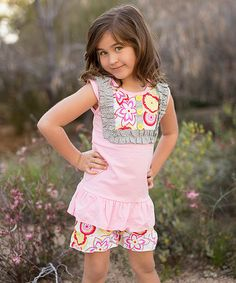 Love this Pink Flower Power Tank & Shorts - Toddler & Girls by Little Miss Fairytale on #zulily! #zulilyfinds