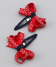 Take a look at this Red & Navy Clip Set by Bubbly Bows on #zulily today!