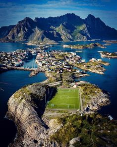 Photo by Aerial view ⛰ Henningsvær, Lofoten Islands, Norway. Photo by Places Around The World, Travel Around The World, Around The Worlds, Places To Travel, Places To Go, Lofoten Islands Norway, Travel Goals, Aerial View, Destinations