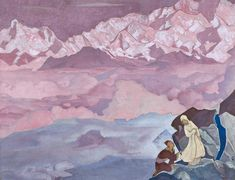 She who leads, 1943 by Nicholas Roerich. Symbolism. symbolic painting. N. K. Roerich International Centre-Museum, Moscow, Russia