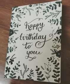 Hand drawn leaves and flowers motive. For a birthday card or any other occasion