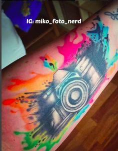 Watercolor camera tattoo, see on Instagram @veronicasparrow.