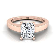 Radiant Cut Diamond Solitaire Flat Shank Engagement Ring In Rose Gold Cute Engagement Rings, Oval Solitaire Engagement Ring, Radiant Cut Engagement Rings, Diamond Solitaire Rings, Diamond Jewelry, Gold Jewelry, Jewellery, Pretty Rings, Beautiful Rings