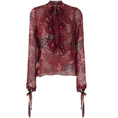 Etro semi sheer blouse (2.485 BRL) ❤ liked on Polyvore featuring tops, blouses, red, semi sheer blouse, etro, silk top, red silk top and red blouse