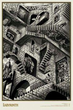 Labyrinth Ivory Bowie Alternative Movie Poster Chris Skinner S/N NT Mondo David Bowie Labyrinth, Labyrinth 1986, Goblin King, Escher Kunst, Labyrinth Tattoo, Labrynth, Drawn Art, Alternative Movie Posters, Jim Henson
