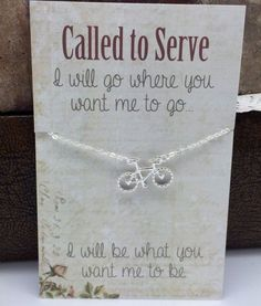 Missionary Necklace - Sister Missionary Jewelry - Called to Serve Bicycle Necklace Small bicycle charm bike charm - missionary gift ideas Missionary Quotes, Missionary Care Packages, Missionary Gifts, Sister Missionaries, Missionary Girlfriend, Don Draper, Lds Quotes, Qoutes, Sister Gifts