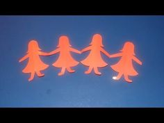 This video will show you how to fold a long paper, where to draw the desired figure and how to cut the figure in order to make a chain of figures, hand in ha. Paper Doll Chain, Paper Chains, Paper Dolls, Paper Folding Crafts, Paper Crafts For Kids, Diy Paper, Fun Crafts, Easy Origami For Kids, Origami Easy