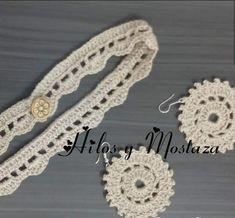 Gargantilla sencilla con botón en crochet Crochet Earrings, Jewelry, Stud Earrings, Necklaces, Chokers, Crocheting, Tejidos, Accessories, Jewlery