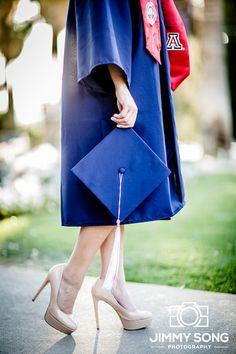University of Arizona Senior Graduation Grad Photo Portraits Idea Fun Smile Happy Sorority Dress Pose Cap Gown Heel