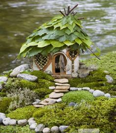 I've been saving up some bark, finding interesting stones and would love to make a fairy house like this one. Posted on Saturdays Are Fun: Fairy Garden Inspiration Fairy Garden Houses, Gnome Garden, Garden Art, Home And Garden, Fairy Gardens, Miniature Gardens, Garden Cottage, Spring Garden, Garden Oasis
