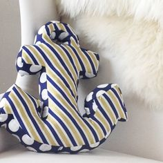 Fun, nautical-inspired anchor pillow with In The Navy by Jackie McFee for Camelot Fabrics
