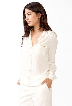 Chain Pocket Button Up | FOREVER21 - 2025100684