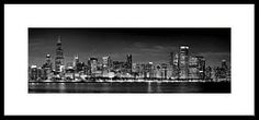 Chicago Skyline At Night Black And White Framed Print by Jon Holiday