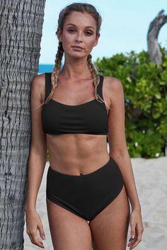 Ladies Black White polka Leopard Bandeau Bikini set Two Piece high waist Small