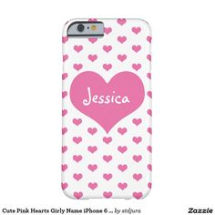 Cute Pink Hearts Girly Name iPhone 6 Case Pink Hearts, Cute Pink, Iphone Case Covers, Create Your Own, Girly, Names, Women's, Girly Girl