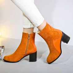 69.52$  Buy now - http://aliyhk.worldwells.pw/go.php?t=32755279341 - Fashion Martin Boots Black Gray Brown Cowhide Round Toe Thick Heels Booties Shoes Women Customized Big Size 40 41 42 Footwear