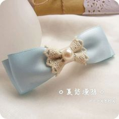 蝴蝶结发饰 蓝色系 蕾丝带