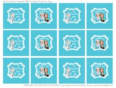 Frozen themed - FREE printable Thank You Favor Tag PDF File (click on the image to find the download link)