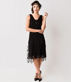 Purchase the black Hemingway flapper dress from Unique Vintage and get free shipping over $150.