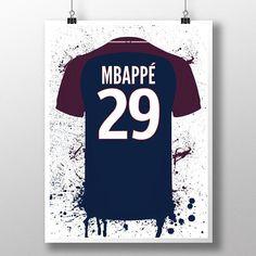07fe96773 Mbappe PSG Illustrated Football Shirt soccer poster