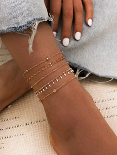 5pcs Tassel Charm Anklet Stylish Jewelry, Simple Jewelry, Dainty Jewelry, Cute Jewelry, Women Jewelry, Fashion Jewelry, Fashion Necklace, Ankle Jewelry, Hand Jewelry