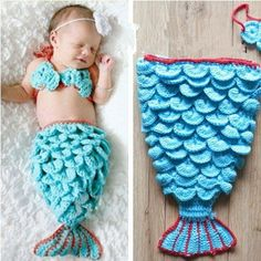 Newborn baby mermaid costume - buy or make your own with free patterns