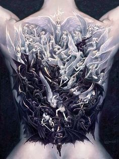 WAR OF ANGELS very large Limited Edition print by Todd Lockwood