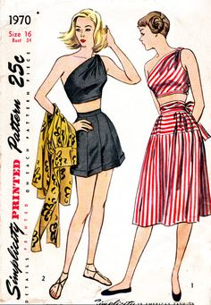 1940s 1950s vintage sewing pattern reproduction one shoulder