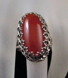 Ornate Ring Chunky Carnelian Glass by GrapenutGlitzJewelry on Etsy, $24.00