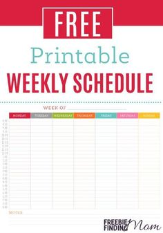 Tired of missing appointments or forgetting important events? Download this simple to use free printable weekly schedule to keep yourself and your family on track. Then be sure to leave your schedule in a convenient location where the entire family will be able to view it (i.e. on the fridge).