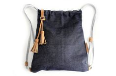 Vale BACKPACK, canvas and leather backpack, made of denim / jeans and italian leather, blue. Personalized with your initials.
