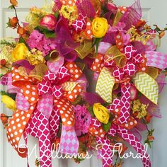 Bright Pink and Orange Summer and Spring Mesh Wreath by WilliamsFloral on Etsy https://www.etsy.com/listing/227543299/bright-pink-and-orange-summer-and-spring
