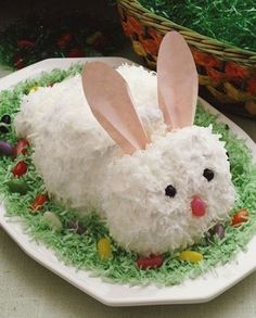 Easter Bunny Cake... Me, mom & sisters used to make this at Easter. Fun, cute & yummy