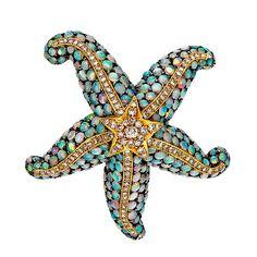 Opal Diamond Silver Gold Starfish Pin | 1stdibs.com