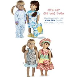 K3771, Doll Clothes Doll Clothes Barbie, Doll Clothes Patterns, Doll Patterns, Clothing Patterns, Clothes Crafts, Sewing Clothes, Kwik Sew Patterns, American Girl Crafts, American Dolls