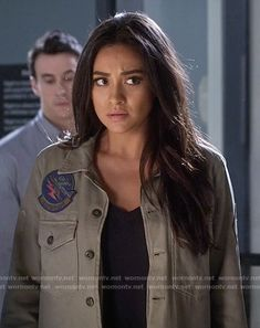 Emily's green jacket with patches on Pretty Little Liars.  Outfit Details: https://wornontv.net/58482/ #PLL