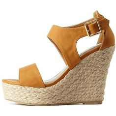 Charlotte Russe Camel Qupid Cut-Out Espadrille Wedges by Qupid at Charlotte Russe