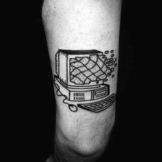 From circuit boards to mice, monitors and beyond, discover the top 50 best computer tattoo designs for men. Symbol Tattoos, New Tattoos, Tattoos For Guys, Cool Tattoos, Arrow Tattoos, Friend Tattoos, Computer Tattoo, Chip Tattoo, Tech Tattoo